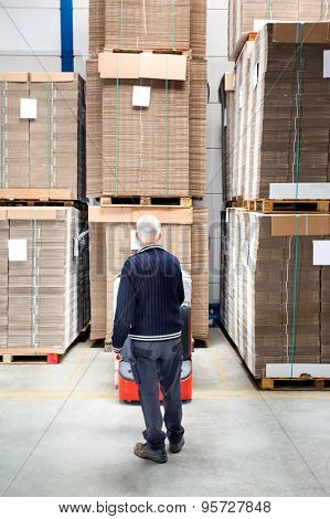 Male worker standing in front of stockpiles at distribution warehouse