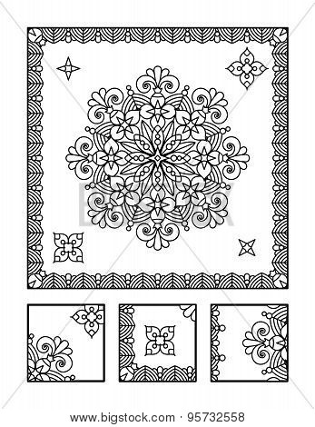 Framed mandala coloring page for adults (children ok, too) and visual puzzle. Puzzle directions: find the fragment that does not belong to the main picture. Answer: right. poster
