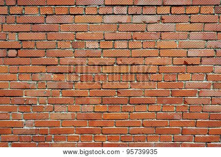 Old Red Brick Wall Fragment Background