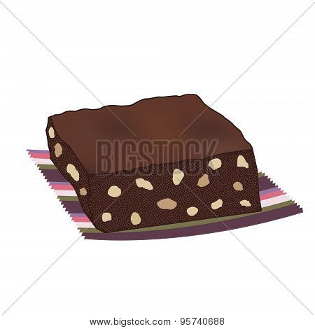Chocolate brownie cake with nuts on a striped serviette