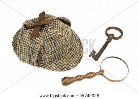 Sherlock Holmes Deerstalker Cap, Vintage Magnifying Glass And Old Key