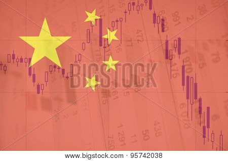 Flag of China. Downtrend stock chart on background.