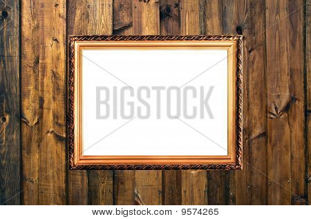 Small Russian Style Vintage Elegant Frame On Wooden Rough Planks Background Concept Dissonans Of Ele