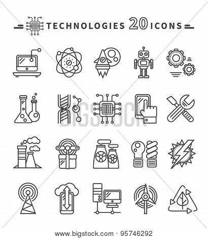 Technologies Black Icons on White Background
