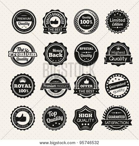 Vintage Premium Quality Black And White Badges