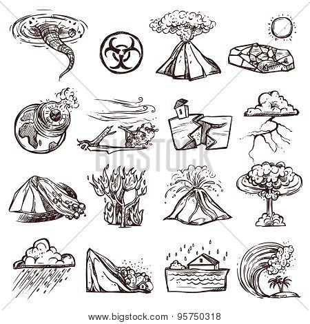Natural Disaster Sketch Icon Set
