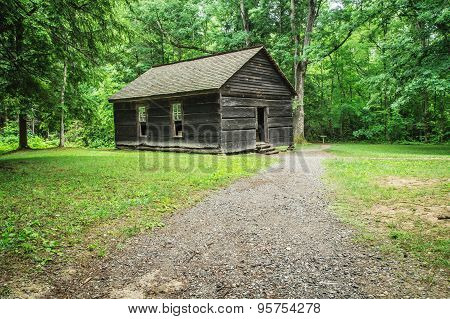 Great Smoky Mountain Schoolhouse. Historic one room school nestled in a valley of the Appalachian Mountains.