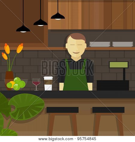 shop cafe assistant waitress smile behind cashier small business owner poster