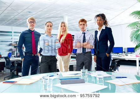 Business executive team youg people standing at office poster