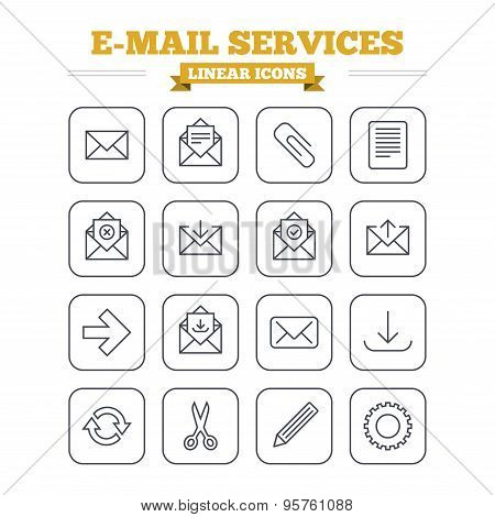 Mail services linear icons set. Send mail, paper clip and download arrow symbols. Scissors, pencil and refresh thin outline signs. Receive, select and delete mail. Flat square vector poster