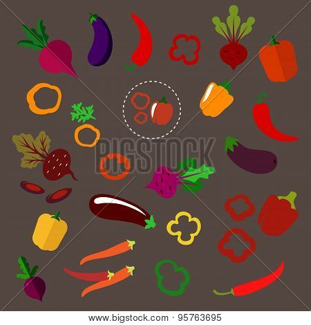 Flat beets, eggplants, chili and bell peppers