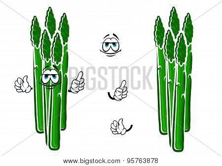 Asparagus vegetable spears cartoon character