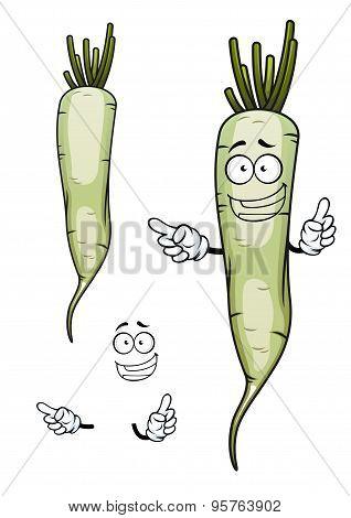 Daikon or white radish vegetable character