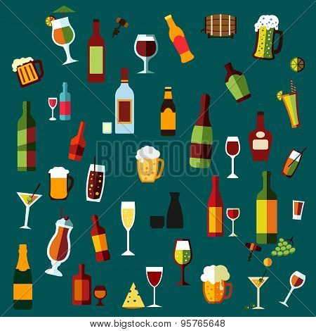Flat alcohol beverages and cocktails icons of wine bottles, champagne, martini, beer, whisky, brandy and vodka, cocktail and wine glasses, beer mugs with some light snacks and corkscrews on dark turquoise background poster