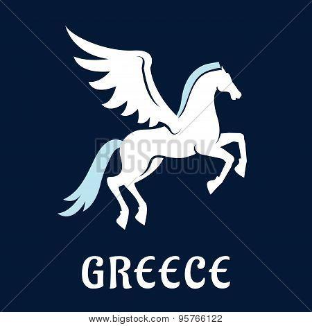 Flat greece Pegasus horse icon