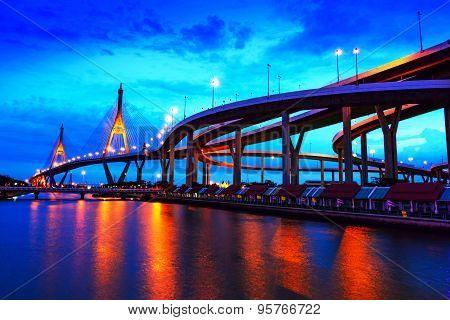 Bhumibol Bridge, Bangkok, Thailand,The bridge crosses the Chao Phraya River twice.