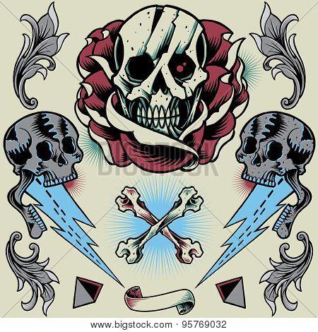 Skull, Rose, Thunder, Pyramid, Ribbon, Bone Cross and Floral Ornament