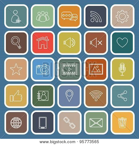 Chat Line Flat Icons On Blue Background