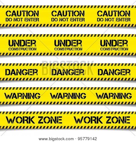 detailed illustration of Construction Caution Tapes, eps10 vector
