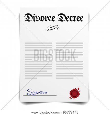 detailed illustration of a Divorce Decree Letter, eps10 vector