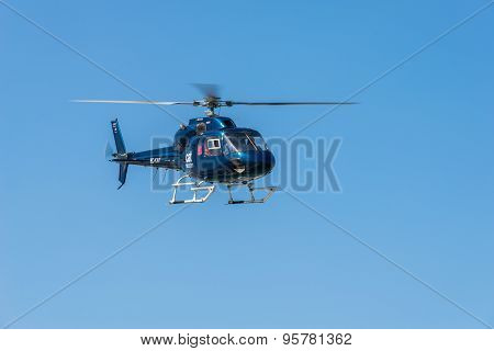 Helicopter service in the port of Barcelona