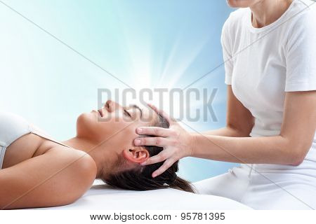Conceptual Osteopathic Healing With Light Glow.