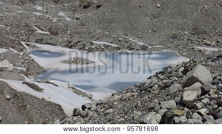 Frozen Lake On The Ngozumba Glacier