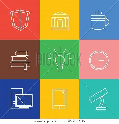Education vector logo icons set. Graduation, school and science symbols. Stock design elements