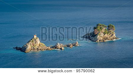 Katic and Holy Week rocky islands with ancient monastery in Montenegrian Adriatic sea. Montenegro touristic attractions. poster