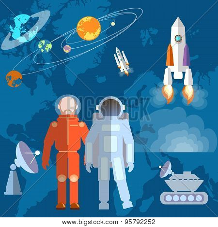 Astronauts In Space: Cosmonaut, Orbits, Planets, Rockets, Spacecraft, Study, Space Shuttle, Vector