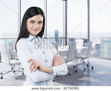 Beautiful Brunette In A Corner Conference Room. Modern Office With Huge Windows And Amazing New York