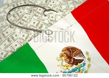 stethoscope against digitally generated mexican national flag
