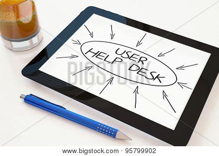 User Help Desk - text concept on a mobile tablet computer on a desk - 3d render illustration. poster