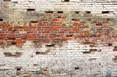 Broken Old Bricklaying Wall Fragment From Red White Bricks And Damaged Plaster Background Texture Close-up poster