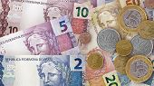 Brazilian Real bills creating a colorful background poster
