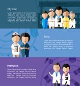 Physicians such as doctor nurse and pharmacist and health care profession infographic banner template layout background designed for website create by vector poster