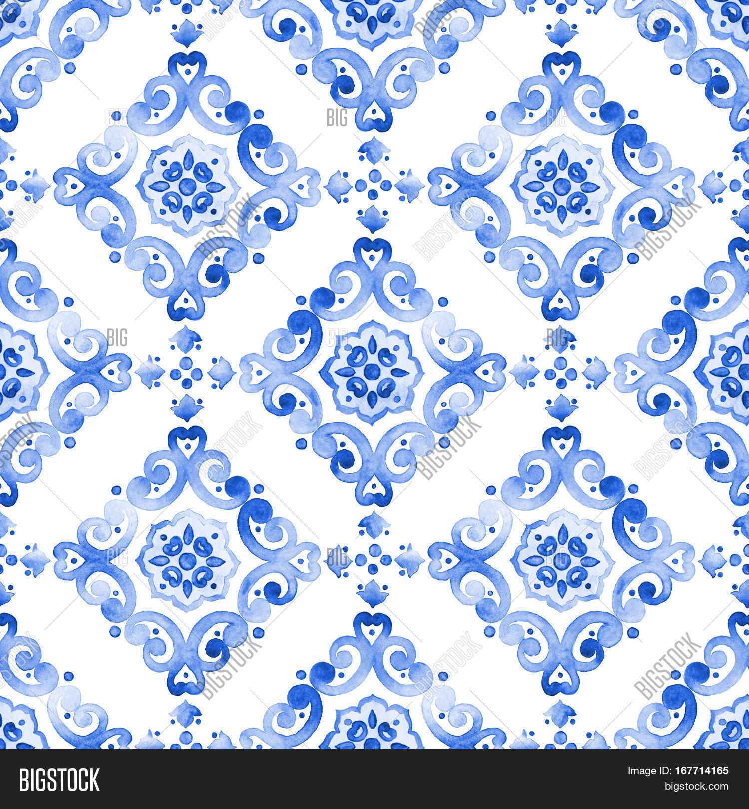 Delft Blue Style Seamless Pattern Watercolor Vintage Filigree Cobalt Ornament For Textile Fabric Wallpaper