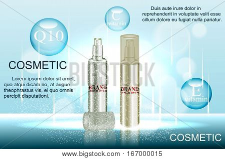 Exquisite cosmetic ads template, blank cosmetic mockup with sparkling bokeh background and dazzling effect, cosmetic spray bottle, tube. 3D illustration.