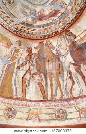 KAZANLAK, BULGARIA - JULY 26, 2015: Thracian Tomb