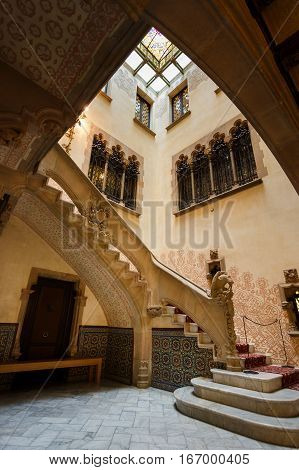 Barcelona Spain - January 02 2017: The entrance to the Amatller House Museum by architect Josep Puig i Cadafalch located on the Passeig de Gracia street in Barcelona