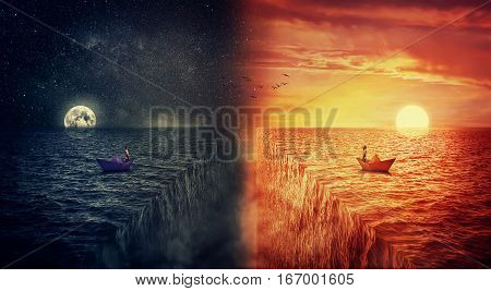 Conceptual view of two worlds collide as a lost man in a paper boat sailing in the middle of the ocean try to find himself in a another world alternate reality. Parallel universe multiverse fiction theory. Adventure and journey concept.