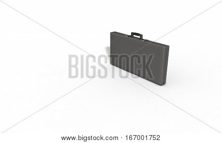 Gray leather lined business bag 3d render