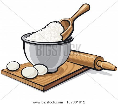illustration of bowl with flour and eggs for cooking
