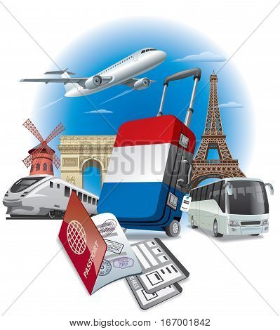 concept illustration of tour in France Moulin rouge Triumphal arc and eiffel tower