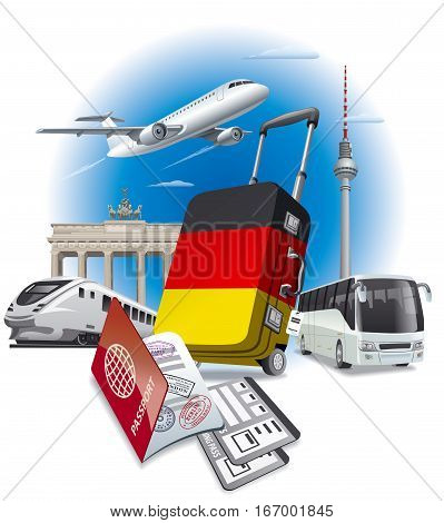 concept illustration of tour and travel to berlin and germany