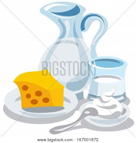 illustration of different milk products cheese and cottage