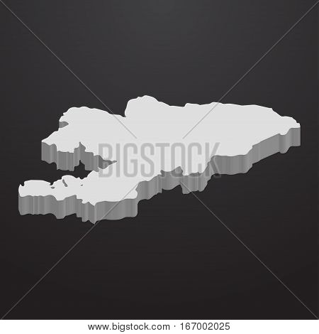 Kyrgyzstan map in gray on a black background 3d