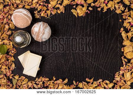 Spa bath cosmetic. Aromatherapy with natural soap and bath bomb. Hygiene and relaxation for body. Luxury therapy and care. Still life