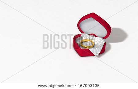 Heart shaped rings red box 3d illustration background