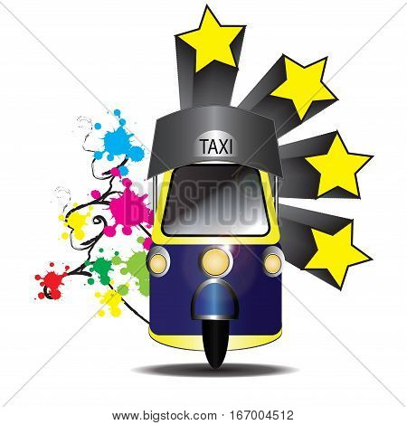 Tuk tuk shuttle bus in Thailand. Tuk shuttle fare of the country Thailand